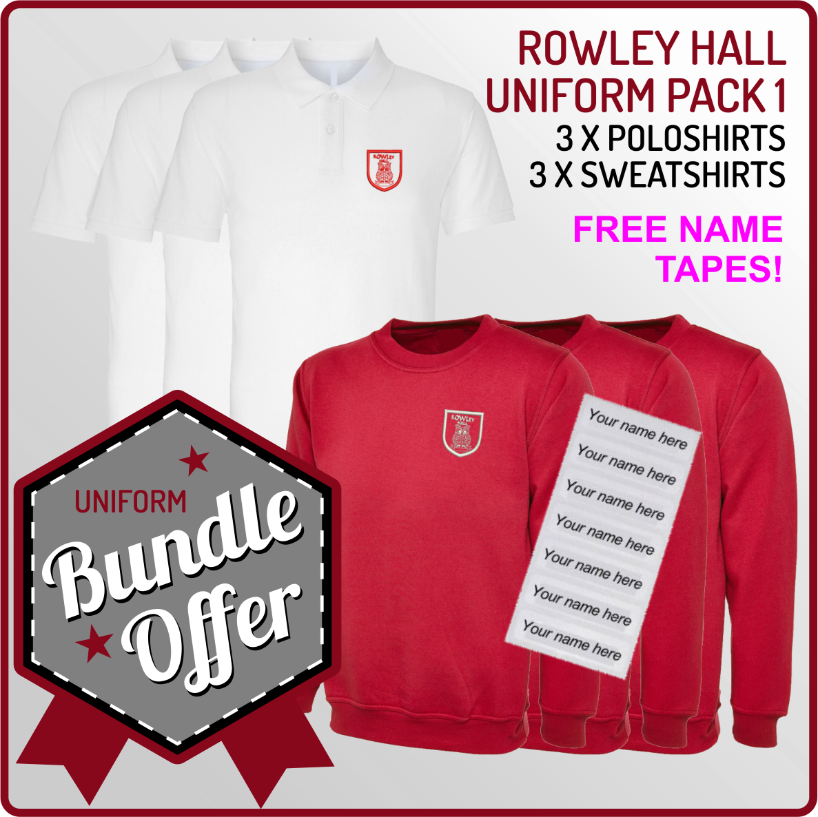Bundle offer of 3 Crew Neck Sweatshirts & 3 Poloshirts