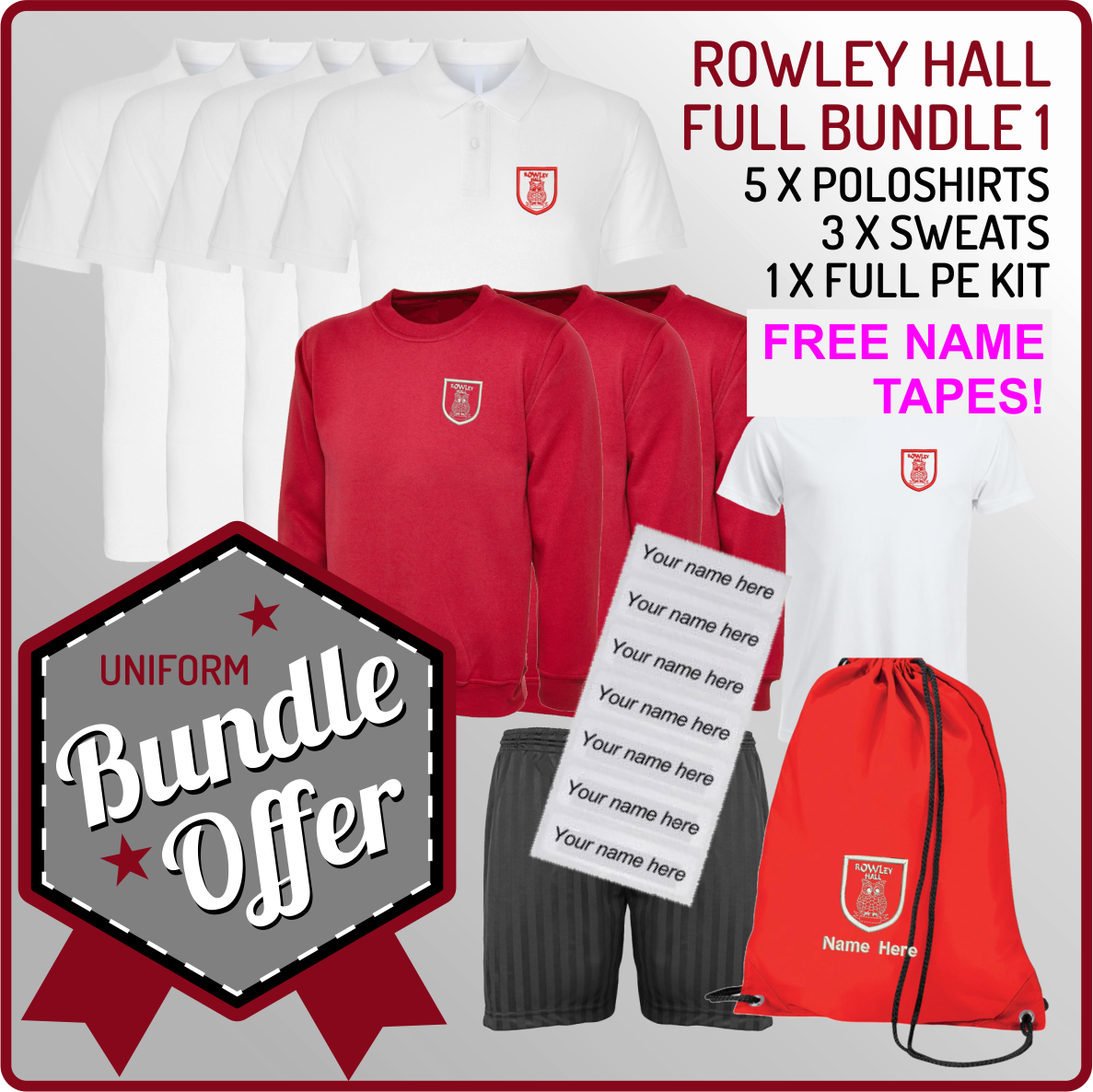 Bundle offer of 5 Poloshrts, 3 Sweatshirts, PE T, Shorts and PE Back with free name or intials