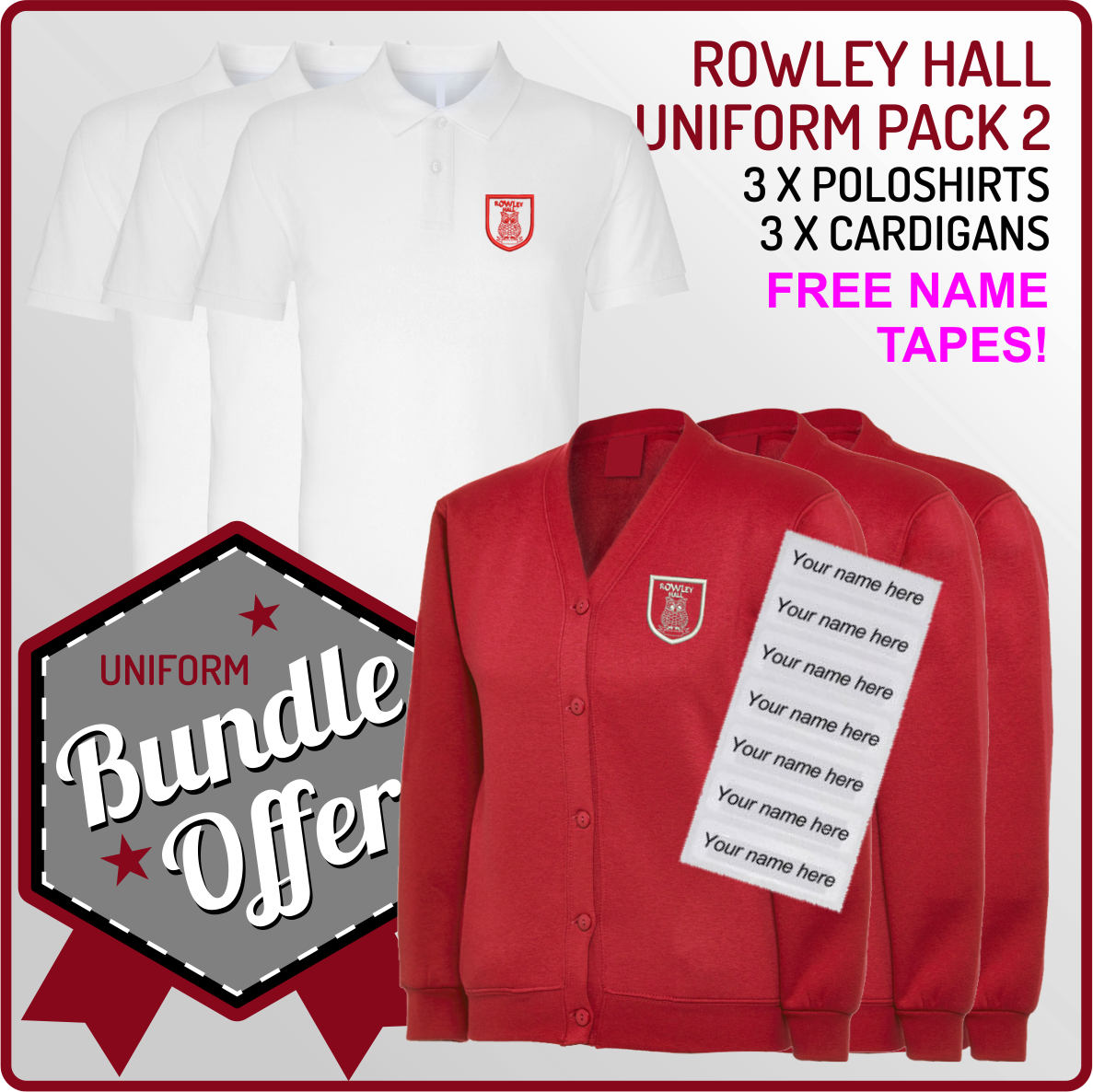 Bundle offer of 5 Poloshrts, 3 Cardigans, PE T, Shorts and PE Back with free name or intials